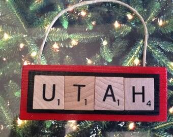 University of Utah Utes Christmas Ornament Scrabble Tiles