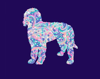 Lilly Pulitzer Inspired Golden Doodle Vinyl Decal