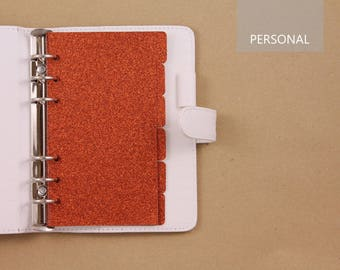 Set of 6 dividers for Filofax Personal, planner dividers, dividers Filofax organizer orange glitter