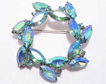 Vintage Aurora Borealis Blue Rhinestone Brooch
