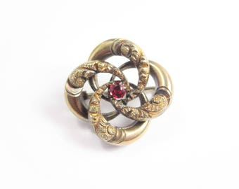 Vintage Antique Victorian Love Knot Brooch Pin Red Stone
