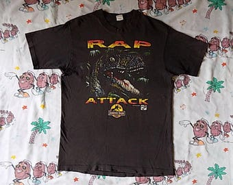 Vintage 90's Jurassic Park Rap Attack T shirt, size Large 1993 movie promo