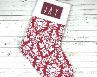 Personalised christmas stocking with embroidered name, red white damask, designer fabric, classy christmas