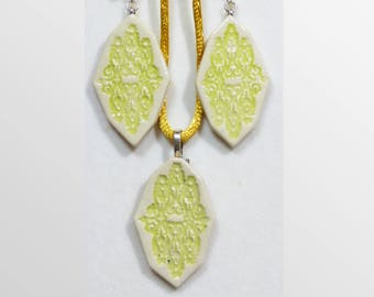 Chartreuse handmade ceramic earring and pendant set