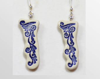 Indigo handmade ceramic earrings