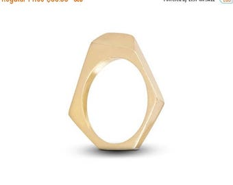 ON SALE Hexagonal Statement Minimalist Geometric Ring, 925 Silver or 14K Gold Ring - Handmade Product