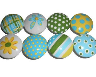 8 Custom Pretty Garden Hand Painted Drawer Pulls Knobs