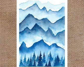 Little Blue Mountain Scene - Watercolor Print