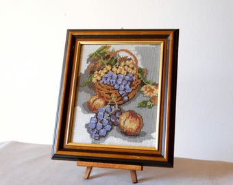 Embroidery Fruit Wall Hanging, Bohemian Wall Art, Fruit Decor, Framed Cross Stitch, Needlepoint Canvas Tapestry, Greek Embroidery, Fruits