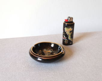 Porcelain Ashtray, Greek Ceramic Ashtray, Lighter Case, Weed Ashtray, Cool Ashtray, Cigar Ash Tray, Smokers Gift, Ceramic Lighter Hoder