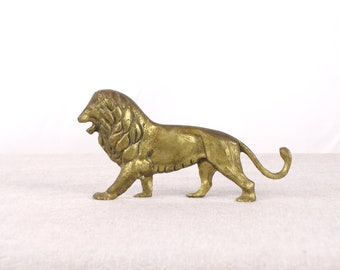 Brass Lion Statue, Lion Sculpture, Brass Lion, Lion Figurine, Brass Sculpture, Lion Gift, Brass Paperweight, Lion Decor, Lion Art, Lion
