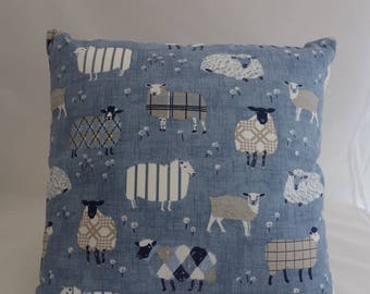 Pillow - Blue Sheep design feature cushion, complete with cushion pad, zip fastening