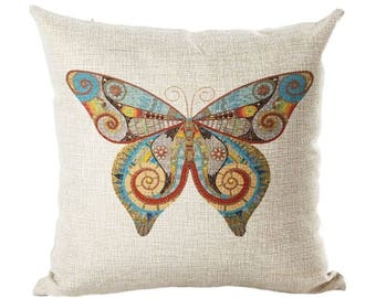 "Butterfly Pillow Cover, Cotton Linen Poly Blend, Decorative Pillows, Mariposa, Nature, Neutral, Home Decor, Cushion Cover, 18"" X 18"""