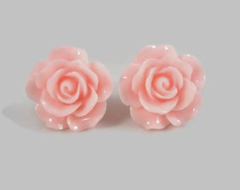 Pink Rose Stud Earrings Flower Posts Christmas In July Sale