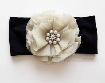 Shabby Chic Chiffon Flower on a Black Stretchy Headband