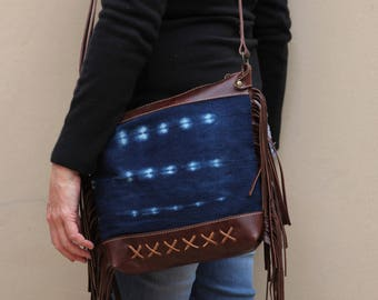 Brown Leather Fringe Bag - Brown Leather Boho Bag - African Mud Cloth - Tribal Boho Bag - Gift for Wife