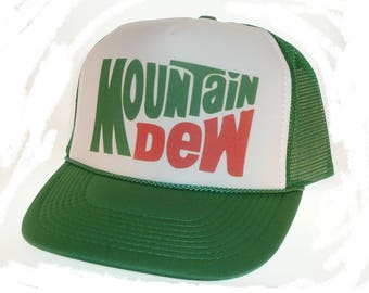 Vintage Mountain Dew soda Hat Trucker Hat snap back adjustable one size fits most green