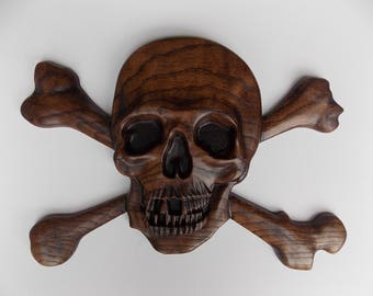 Skull and Bones Pirate Decor ~  3D Wooden Pirate Art ~ Pirate Skull and Crossbone ~ Halloween Decor ~ Pirate Wood Carving ~ Solid Oak Wood