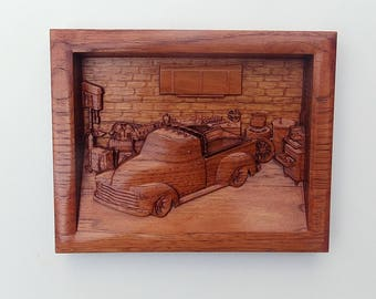 Chevy Decor 1951 Chevy Truck Wood Carving ~ Chevy ~ Truck ~ Classic Truck Collection ~ Chevy Pickup ~ Garage Art ~ Wood Wall Art Carvings