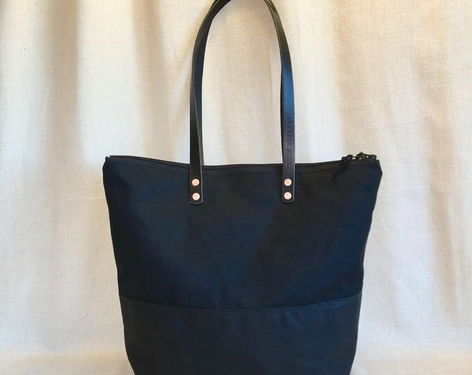 Skyler waxed canvas bottom zip tote - FREE SHIPPING