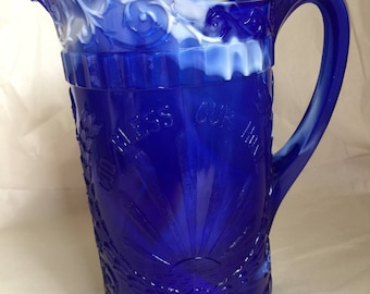 Vintage Cobalt Blue/White Marble Slag glass Pitcher 38 ounces LG Wright glass for Westmoreland God and Home Sunray slag glass pitcher