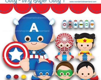 50% OFF Superhero Baby Boys Girls 1 - PNG SVG Eps Cliparts Clip Arts File Instant Download Printable Digital Scrapbooking Kit