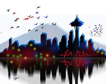"""Limited Edition Print.  """" Seattle """" Digital painting, Wall art, Painting. Art print"""