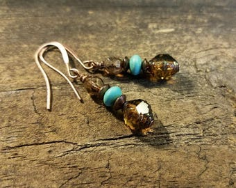 Boho Earrings, Picasso Earrings, Turquoise and Amber Earrings, Earthy Earrings