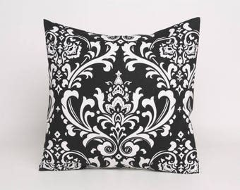 On Sale July Only Black on White Damask Pillow Cover in Premier Prints Ozborne Pattern, Designed to fit 16, 18, 20 or 22 Inch Standard Pillo