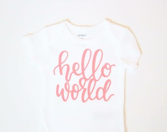 Baby girl clothes, Hello World Gold Baby Bodysuit, Newborn clothes, Coming home outfit, Hello world newborn outfit, hospital outfit