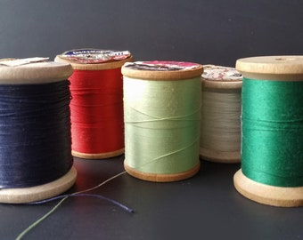 Lot of 5 Colorful Vintage Thread On Wooden Spools Assorted Brands