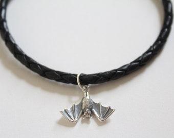Leather Bracelet with Sterling Silver Bat Charm, Bat Bracelet, Bat Charm Bracelet, Silver Bat Charm Bracelet, Bat Pendant Bracelet, Bat