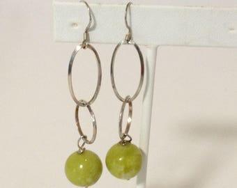 Yellow-Green Serpentine Bead Dangle Earrings 925 Sterling Silver gw16-279