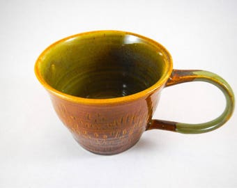 Handmade Large Brown and Green Ceramic Coffee Cup