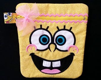 Appliqued Embroidered Spongebob Girl Zipper Bag, pouch, carry all, Phone, Cosmetic, Travel Bag, Pencil Case, School Supplies, purse
