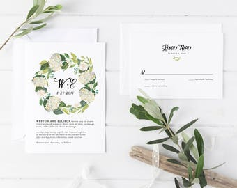 Printable Wedding Invitation Suite | Hydrangea Invitations | Floral Invitations | Botanical Invites | Modern Wedding Invites | WI-037