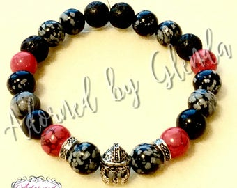 Sale!  War Mentality!   Gemstone beaded stretch bracelet