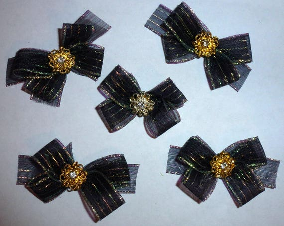 Puppy Bows ~6 gold black organza stripe EVERYDAY BOWS Yorkie Maltese Shih Tzu ~Usa seller (fb81)