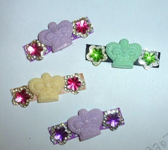Puppy Bows ~ Dog bow crown flower pet hair barrette clip ~USA seller