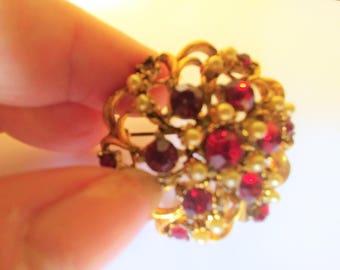 Vintage Czech Brooch / Pin Ruby Brooch / Pin / Pearl Brooch / Pin /  Red Brooch / Pin /   Round Brooch / Pin /Rhinestone Brooch