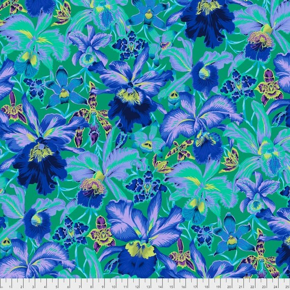 Pre-Order ORCHIDS Blue Philip Jacobs PWPJ092.BLUEX Sold in 1/2 yd increments Pre-Order Item