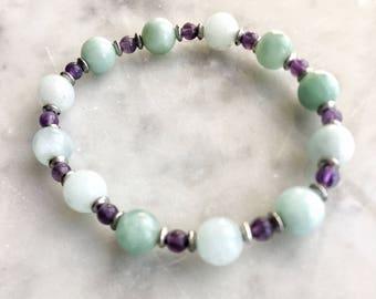 Amazonite / Amethyst / silver Stretch Beaded Bracelet