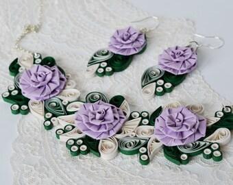 Lilac necklce, lavender necklace, Rose necklace, lilac rose, statement necklace