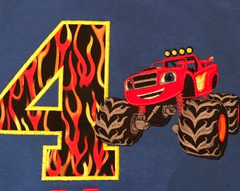 Blaze Monster Truck Inspired Birthday Boy shirt. Any number or name.