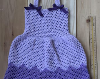 Toddler Crochet Dress Lavender and Purple