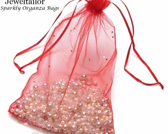 NEW! 10 Extra Large Luxury Red Sparkly Organza Gift Bags 25 x 18cm With Satin Ribbon ~Ideal For Special Occasions