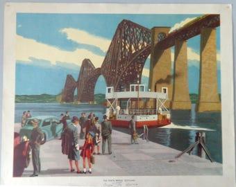 1960 Vintage industrial poster, The Forth Bridge Scotland, Original Macmillan Poster (Print)