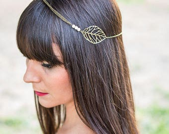"Headband ""Luce"" Bohemian bronze and white beaded chain and leaf"