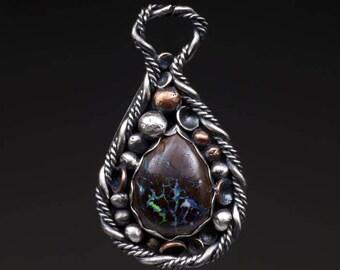 Sterling Silver Pendant - Boulder Opal & Pods