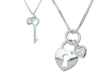 """Sterling Silver Mom and Me Necklace Set """"She holds the key to your heart"""" with a Gift Box for Mother's Day Gift (TCMM-KTH)"""
